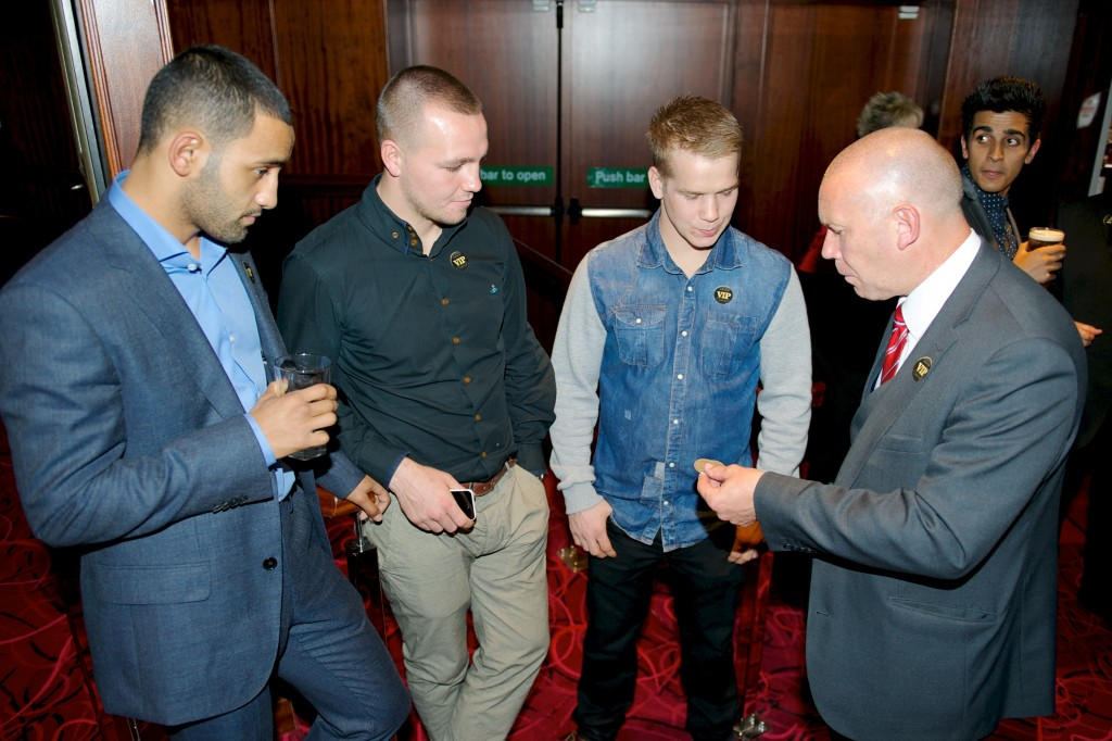 Boxers Kid Galahad, Adam Etches, Scott Jenkins and Andy Taylor (Magician)