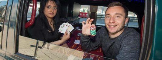 World's smallest casino set up in Birmingham taxi cab